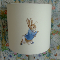 Beatrix Potter- Peter Rabbit Embroidered Nursery Table  Lampshade 20cm Drum