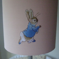 Beatrix Potter - Peter Rabbit  Embroidered Nursery Handmade Table Lampshade