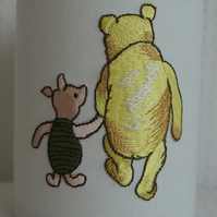 Winnie  The Pooh and Piglet- Embroidered Handmade Nursery Night Light