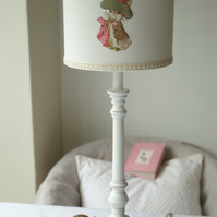 Beatrix Potter -Benjamin Bunny Embroidered Nursery Table Lampshade 20cm Drum