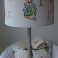 Beatrix Potter Peter Rabbit Pink Alphabet - Handmade Nursery Lampshade 25cm Drum
