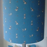 Beatrix Potter Peter Rabbit - Handmade Nursery table Lampshade 20cm Drum