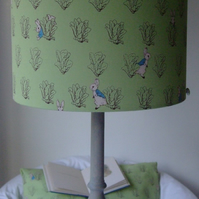 Beatrix Potter Peter Rabbit- Handmade  Nursery table Lampshade 25cm Drum
