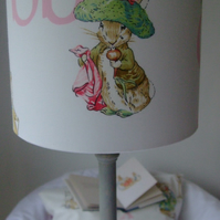 Beatrix Potter - Benjamin Bunny  Handmade Nursery table Lampshade 20cm Drum