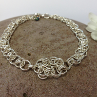 Silver Plated Celtic Flower Chainmaille Bracelet