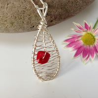 Sterling Silver and Coral Pendant Necklace