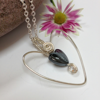 Silver Plated Hematite Heart Necklace