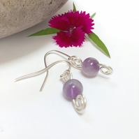 Sterling Silver Amethyst Double Swirl Earrings