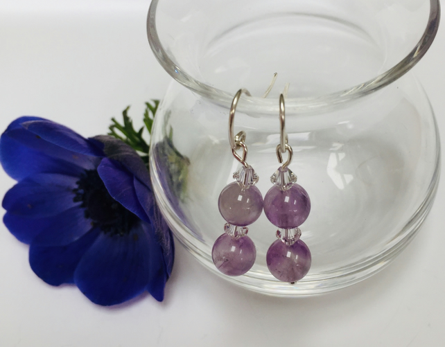 Sterling Silver Amethyst and Crystal Earrings