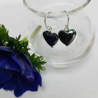 Sterling Silver Hematite Heart Earrings