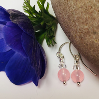 Sterling Silver Rose Quartz and Swarovski Crystal Earrings