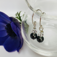 Sterling Silver Black Swarovski Pearl Earrings