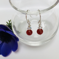 Sterling Silver Carnelian and Crystal Earrings