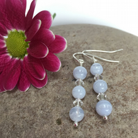 Sterling Silver Blue Lace Agate and Crystal Earrings
