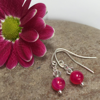 Sterling Silver Pink Agate and Crystal Earrings