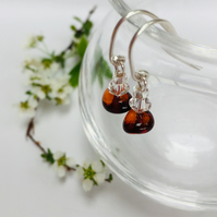 Sterling Silver Amber and Crystal Earrings
