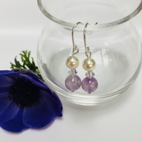 Sterling Silver Amethyst, Pearl and Crystal Earrings