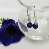Sterling Silver Sodalite and Crystal Earrings