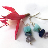 Sterling Silver Amethyst, Sodalite, Turquenite and Amazonite Earrings