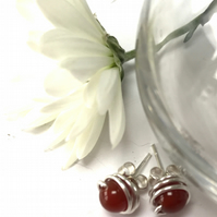 Sterling Silver Carnelian Stud Earrings