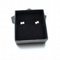 Sterling silver dog bone ear studs