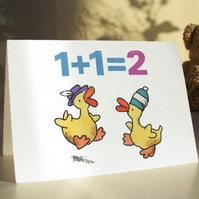 2 LITTLE DUCKS - 2 years old birthday card with a simple sum