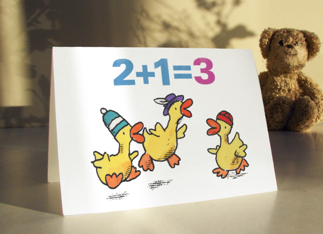 3 LITTLE DUCKS - 3rd birthday adding up card for a boy or girl