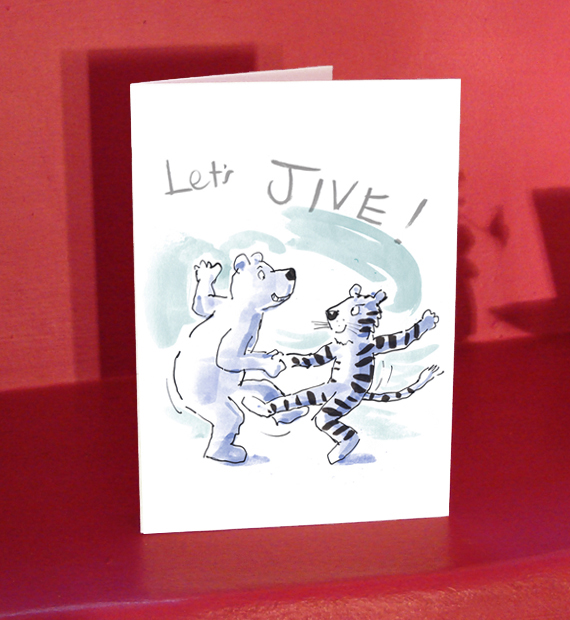LET'S JIVE! Tiger and bear card for lover, boyfriend or girlfriend