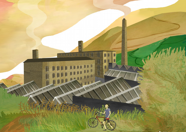 Yorkshire,print,mills,architecture,industry,marsden,west yorkshire,cycling,bikes