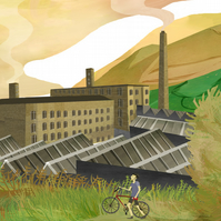 Marsden Mills (West Yorkshire) A4 Illustrated Print