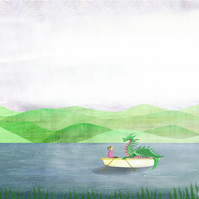 A4 illustrated print,wall art,dragon,boats,lake,landscape,whimsical,storytelling