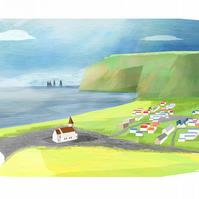 A4 Illustration of an Icelandic Village