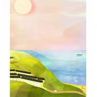 Illustration,art print,A4,seaside,island,sea,hills,island life,boats,sun,holiday