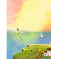 Island Living Flying Kites A4 Illustrated Print