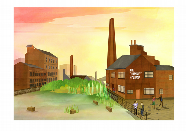 A4 sheffield print,kelham island illustration,iconic sheffield art,yorkshire