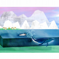 Whale Watching, A4 Print,illustration,water,boats,sea,water,wall art,attraction