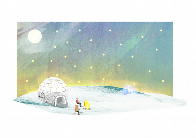 Arctic Fox Illustration,igloo,snow,A4,illustrated Print,animals,snow fox,camping