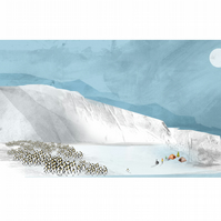 Penguin Gathering Illustration, A4 illustration,Antarctica,planet earth,ice,snow