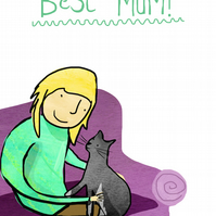 Best mum mothers day card with cat