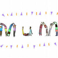 Mothers day card with bendy people spelling out mum