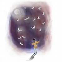 Prince,A4 illustrated print,singer,music,wall art,purple rain,doves,atmospheric