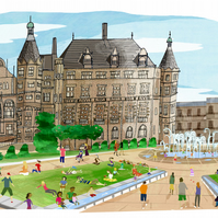 Art print,illustrated print,Sheffield,Peace Garden's,A4,buildings,people,colour