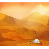 Desert,camping,A4,print,gift for camper,outdoor lover,colourful,wall art,nature