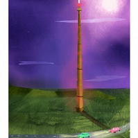 yorkshire,print,A4,emley moor,emley moor mast,night sky,cars,iconic yorkshire,