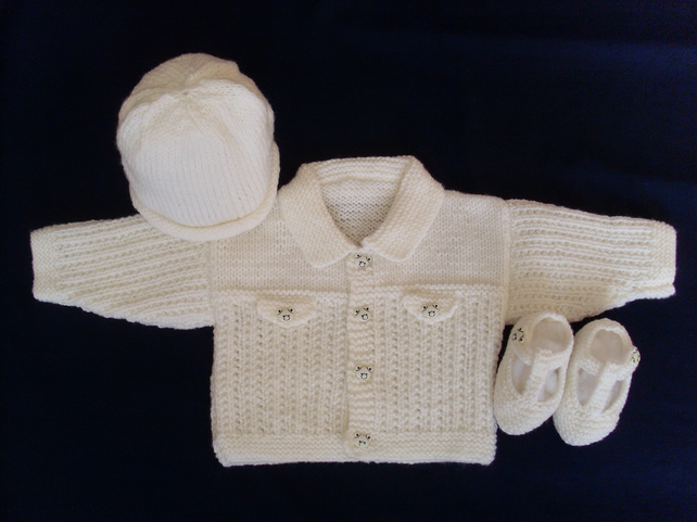 "16"" Baby Boys Jacket Hat & Shoes Set"