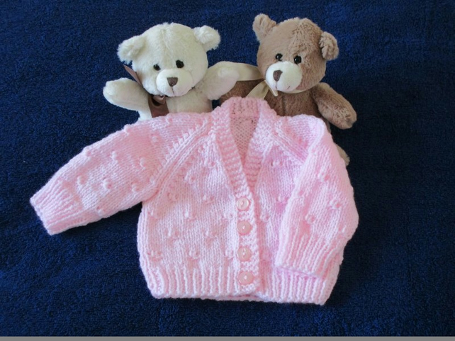 "14"" Newborn Pink V Neck Knots Cardigan"