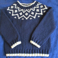 "24"" Jumper with Fair Isle Yoke"