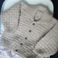"18"" Boys Grey Cardigan with Collar"
