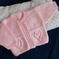 "14"" One Button Heart Baby Cardigan"