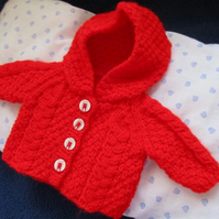 Dolls Red Aran Style Jacket with Hood